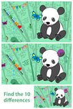 Kids Puzzle - spot the difference in the Pandas. Cartoon vector kids Puzzle - spot the 10 differences in the two Pandas - with a cute little cartoon panda Stock Images