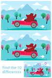 Kids puzzle - spot the 10 differences. Or variations between two vector drawings of a cartoon bear driving a red sports car in the mountains, with the solution vector illustration