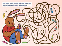 Kids puzzle to help the bunny untangle his rope Stock Images