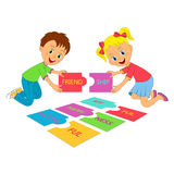 Kids and puzzles. Boy and girl with puzzles with letter,illustration,vector Stock Photography