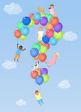 Kids on question mark shaped balloons Royalty Free Stock Photography