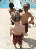 Kids queueing for diving board Stock Photography