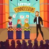 Kids Quiz Show. Kids quiz TV show with little connoiseurs symbols flat vector illustration royalty free illustration