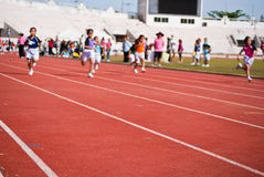 Kids Race. Stadium race in good weather Royalty Free Stock Photography