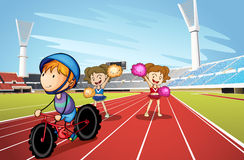 Kids and race track. Illustration of kids and race track in a stadium Royalty Free Stock Photo