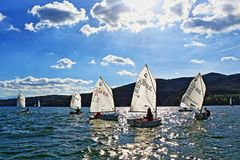 Sailing boats cadets racing. Kids racing in class Optimist sailboats regatta on Iskar Lake,Sofia Bulgaria. Picture taken on October 14th 2017 Royalty Free Stock Photos