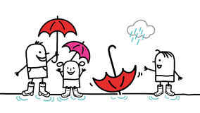 Kids & rain Royalty Free Stock Image