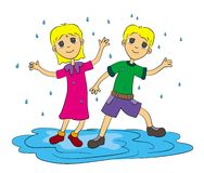 Kids in the rain Stock Photography