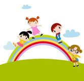 Kids and rainbow Stock Photos