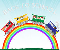 Kids and rainbow. Background illustration with children going to school Stock Photo