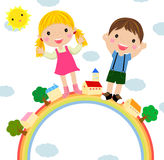 Kids and rainbow Royalty Free Stock Photos