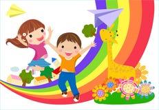 Kids and rainbow vector illustration
