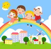 Kids and rainbow Stock Photo