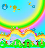 Kids and rainbow. Group of kids playing, cars caravan cars and big rainbow in background Royalty Free Stock Photo