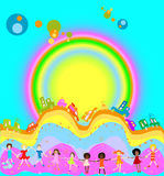 Kids and rainbow royalty free illustration