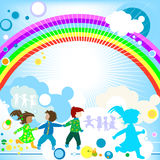 Kids and rainbow Stock Images