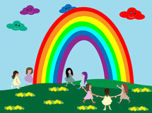 Kids and rainbow Royalty Free Stock Images
