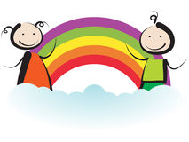 Kids with rainbow vector illustration