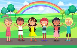 Kids with Raised Hands Celebrate 1 June in Park. Kids with raised hands celebrate in June international children s day in park with green trees and colorful Royalty Free Stock Images