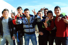 Kids in Rammallah. Pose for photographer showing peace sign Stock Image