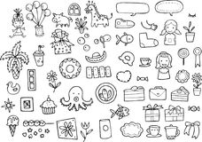 Kids Random Icon, Sticker and Vector Illustration. For many purpose such as print on paper, clothes, stationery, purse, note book cover, etc. EPS 10 format file Royalty Free Illustration