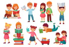 Kids read book. Happy kid reading books, girl and boy learning together and young students isolated cartoon vector stock illustration