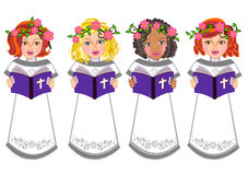 Kids read Holy bible illustration Stock Images