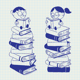 Kids reading. On a big pile of books Royalty Free Stock Image