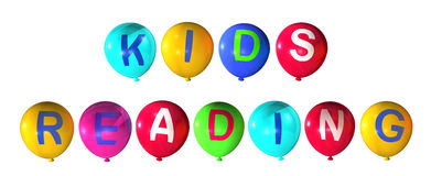 Kids reading. In colorful balloons Royalty Free Stock Photos