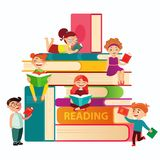 Kids reading on the big stack of books vector flat illustration. Small children around books infographic elements on royalty free illustration