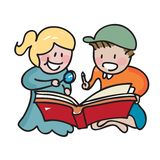 Kids reading book. Together  illustration hand drawn style Royalty Free Stock Photos