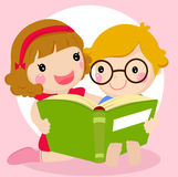 Kids reading a book royalty free illustration