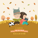 Kids reading book at autumn meadow. Vector illustration Royalty Free Stock Image