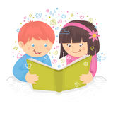 Kids reading book. Kids boy and girl reading the book on table poster vector illustration Stock Photo