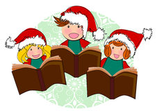 Kids reading book christmas. Kids reading book together  and singing christmas song illustration isolated Stock Images