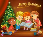 Kids reading the book beside a Christmas tree. A vector illustration in traditional style Stock Image