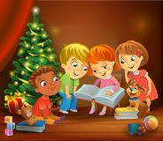 Kids reading the book beside a Christmas tree. A vector illustration in traditional style Stock Photo