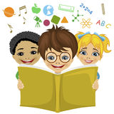 Kids reading a book with education related icons flying out. Imagination concept Stock Images