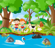 Kids reading book in the forest. Illustration Stock Photo