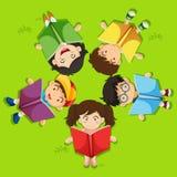 Kids reading book on green grass. Illustration Stock Image