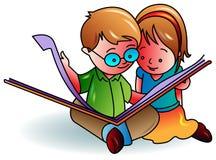 Kids reading a book. Illustrated cartoon image Stock Photos