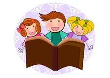Kids reading book illustration Royalty Free Stock Images