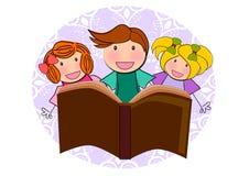 Kids reading book illustration. Kids reading book together illustration Royalty Free Stock Images