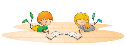 Kids reading book. Illustration of a kids on a white background Royalty Free Stock Image