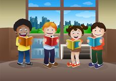 Kids reading book on library background. Illustration of kids reading book on library background Stock Photos