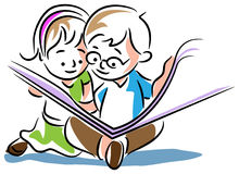 Kids reading a book. Line art cartoon image Stock Image