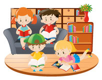 Kids reading book in the room. Illustration Royalty Free Stock Image