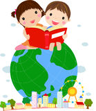 Kids Reading Book Sitting on Globe Stock Photos
