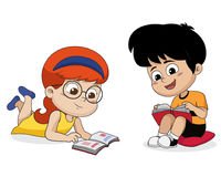 Kids reading a book. Vector and illustration Royalty Free Stock Image