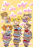 Kids reading books education, school, learning concept illustration Royalty Free Stock Images